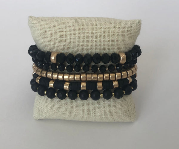 Beaded Set of 5 Stretch Bracelets, Black