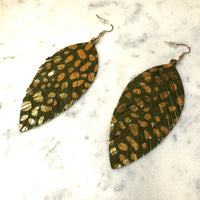 Green Feather Earrings w/ Gold Accent
