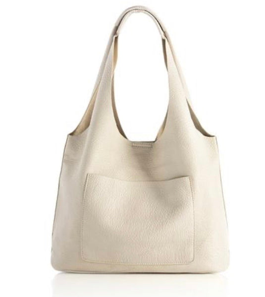 Leather Day Tote, Ivory
