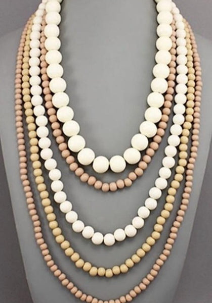 Multi-layer Necklace of Wood Beads