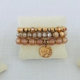 Set of 3 Rosegold Stretch Bracelets with Coin Accent
