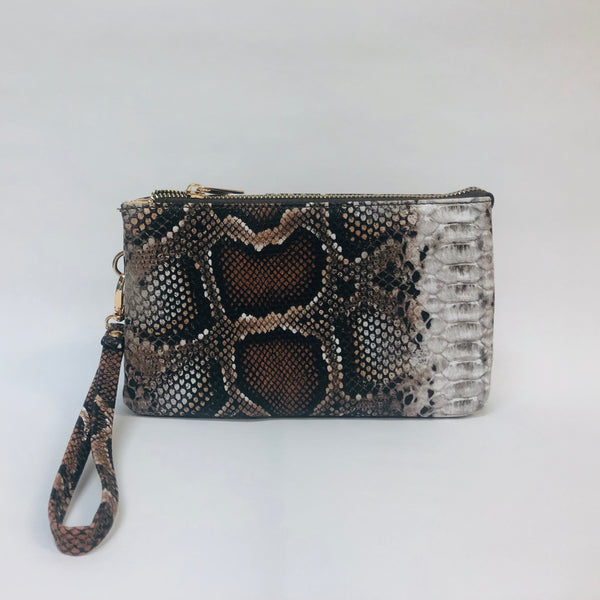Brown snakeskin clutch, crossbody, or wristlet