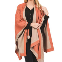 Reversible Wrap, camel and orange