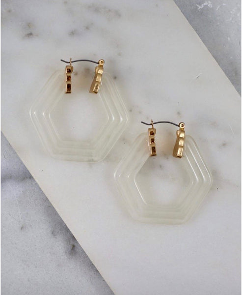 Open Acrylic Hexagon Earrings