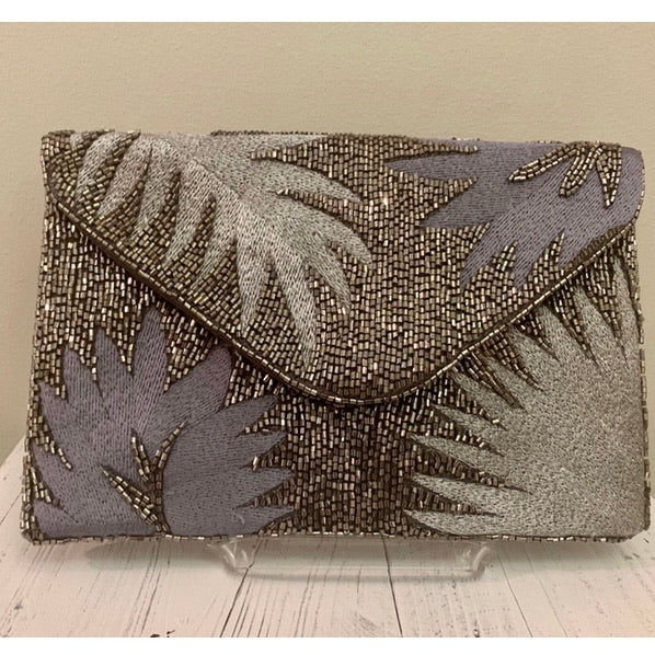 Silver Beaded Crossbody Clutch