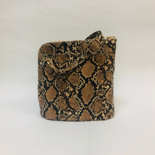 Camel and brown snakeskin crossbody purse