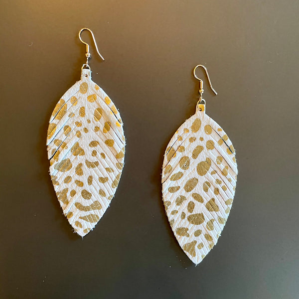 White & Gold Feather Earrings