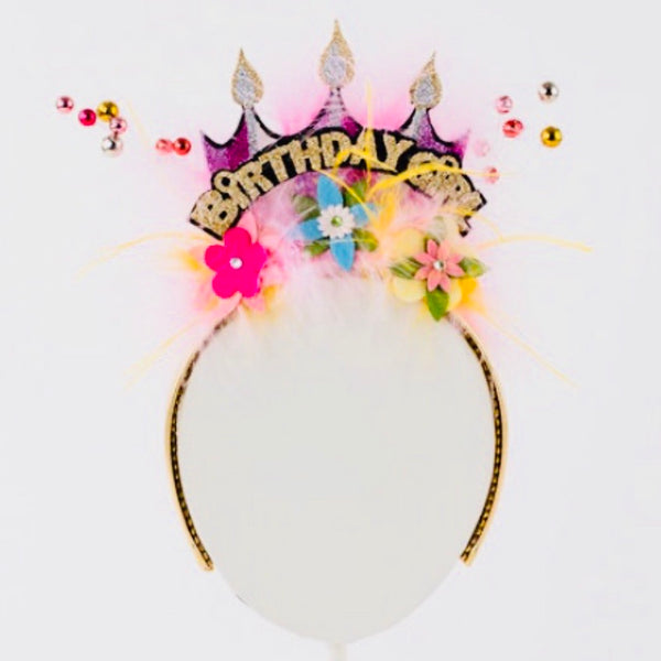 Happy Birthday Headband with Pink Details