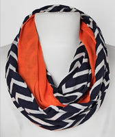 Orange and blue chevron infinity scarf