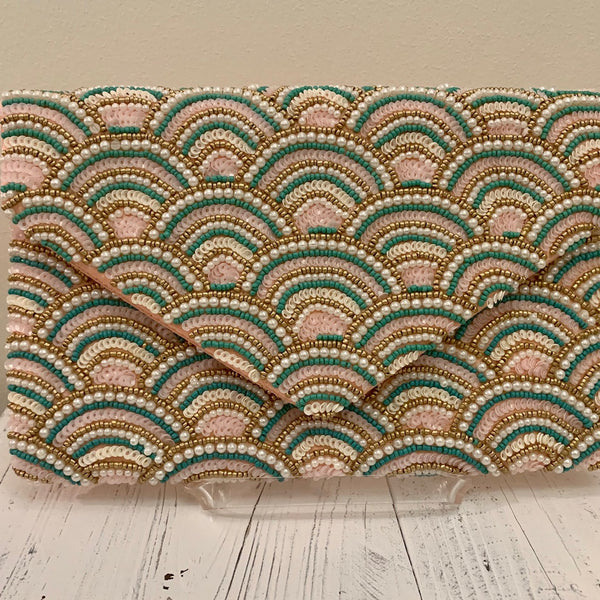 Beaded Clutch - Green and Pink
