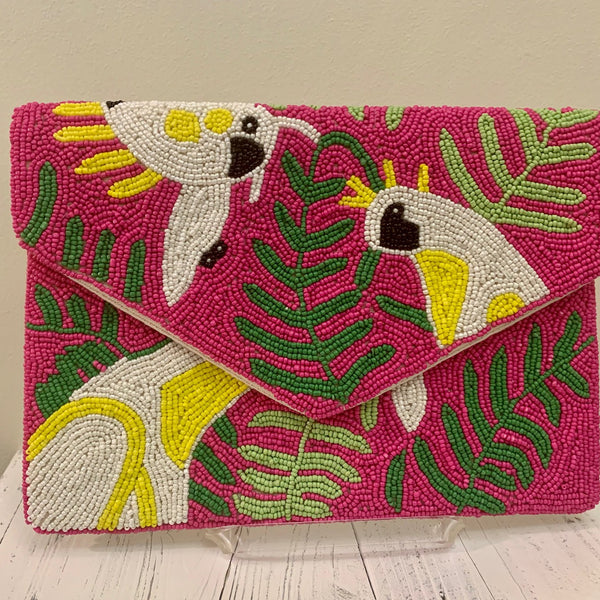 Beaded Clutch - Pink Tropical Birds
