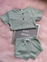 Sage Ribbed Shorts & T-Shirt Set