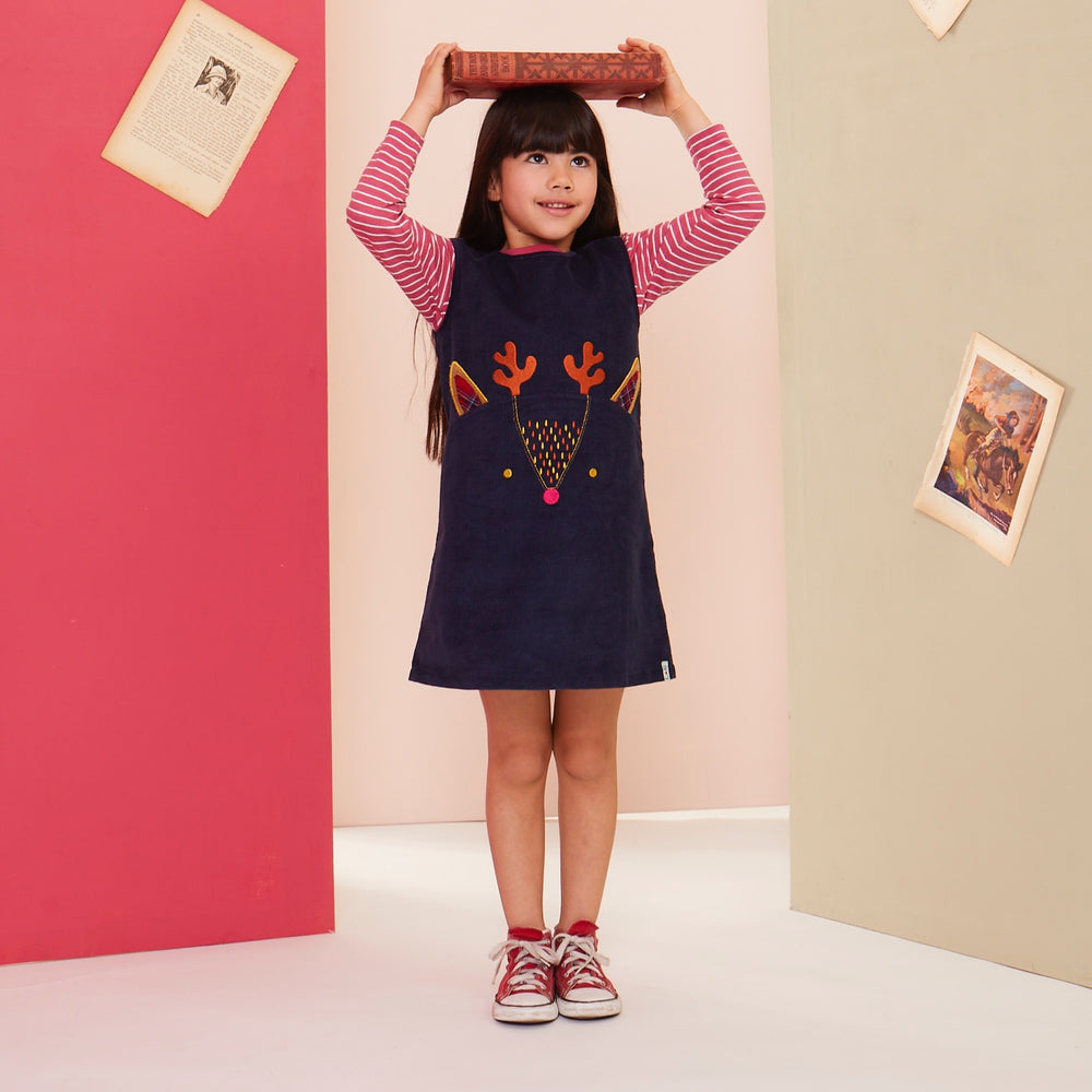 Load image into Gallery viewer, Lilly and Sid Character Cord Pini Dress- Deer