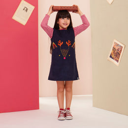 Lilly and Sid Character Cord Pini Dress- Deer