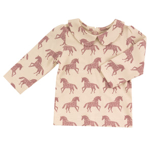 Load image into Gallery viewer, Pigeon Organics Peter Pan Collar Horse Blouse