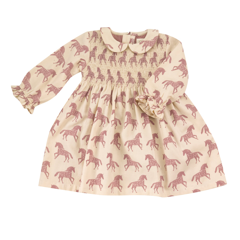 Pigeon Organics Smock Dress with Peter Pan Collar- Horse/ Rose
