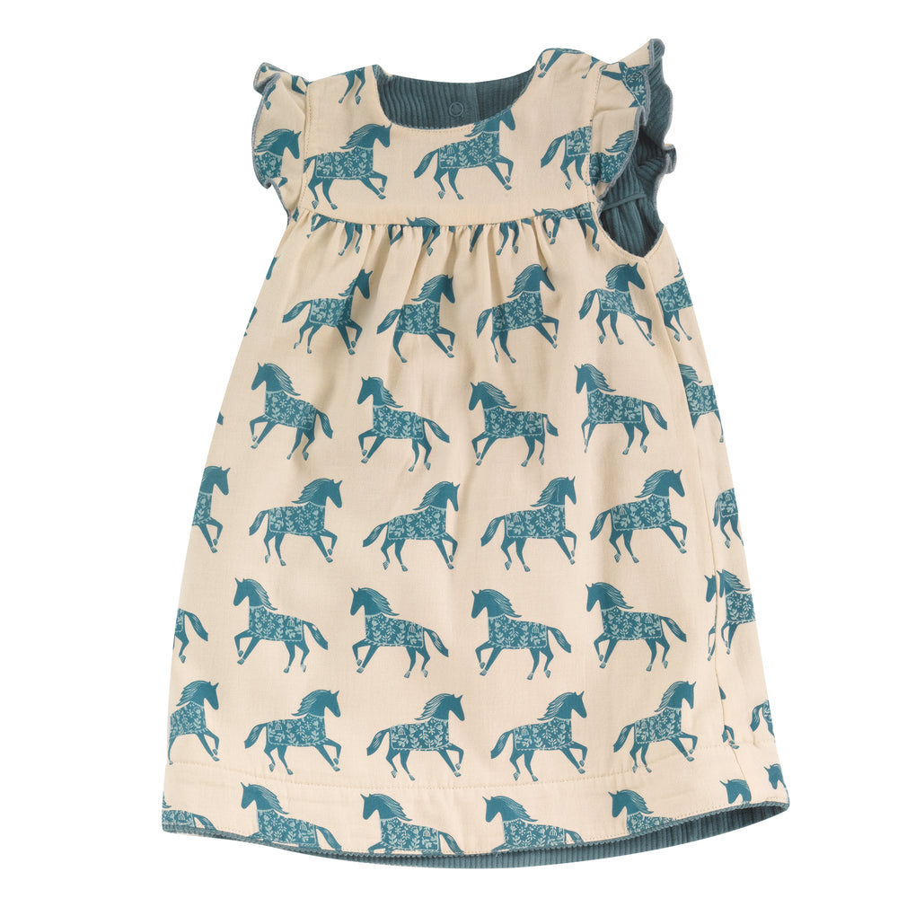 Load image into Gallery viewer, Pigeon Organics Reversible Shift Dress- Horse/ Marlin