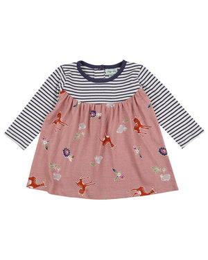 Load image into Gallery viewer, Lilly and Sid Fabric Mix Dress Deer/ Stripe