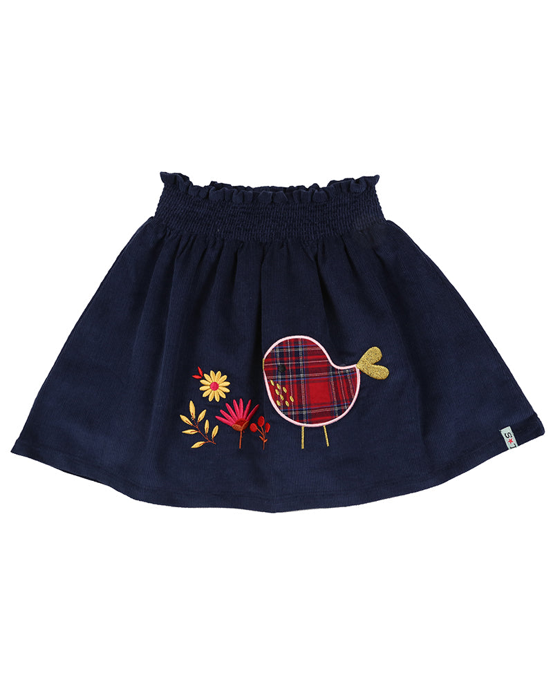 Lilly and Sid Embroidered Hem Skirt- Birdie Check