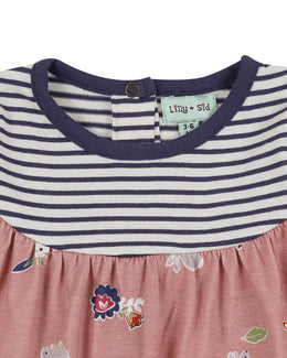 Lilly and Sid Fabric Mix Dress Deer/ Stripe