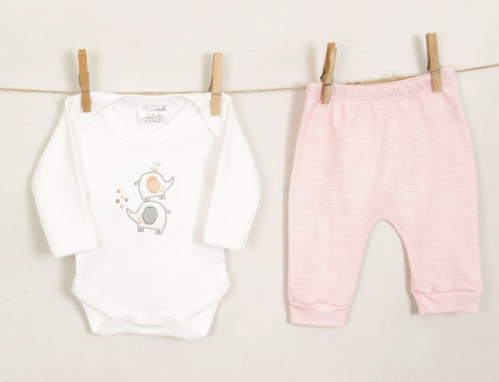 Load image into Gallery viewer, Chamomile Baby Elephant Trouser Set- Pink