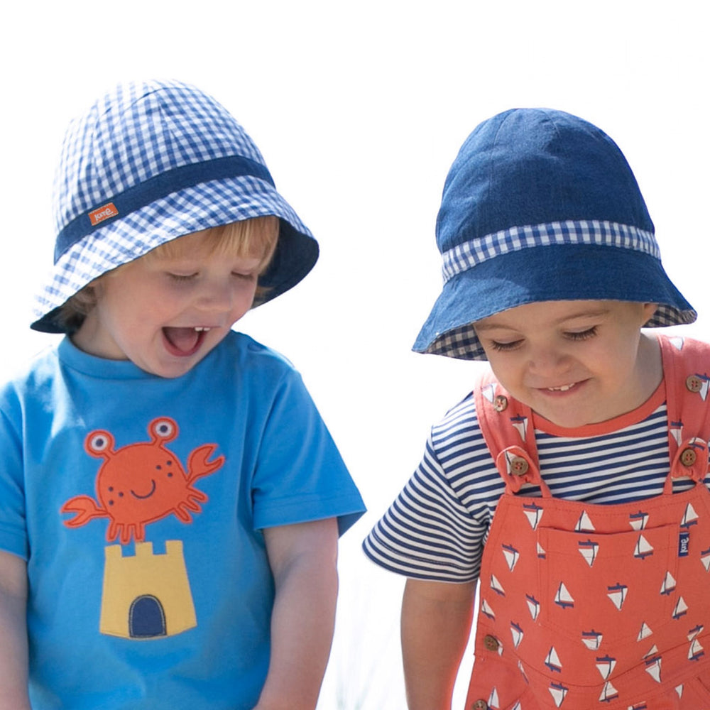 Load image into Gallery viewer, Kite Gingham Sun Hat - Small and Awesome