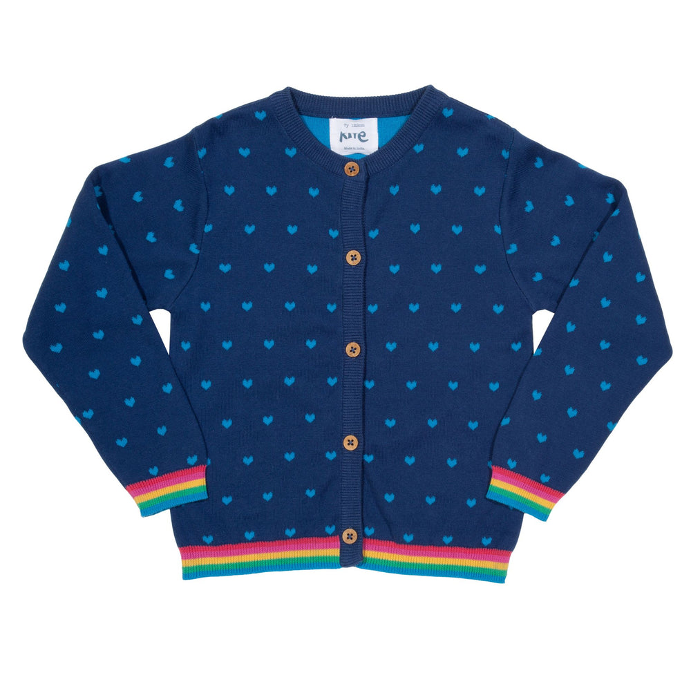 Kite Heart cardi Navy - Small and Awesome