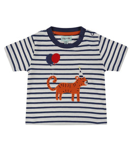 Lilly and Sid Applique Chambray Short Set- Tiger Stripe - Small and Awesome