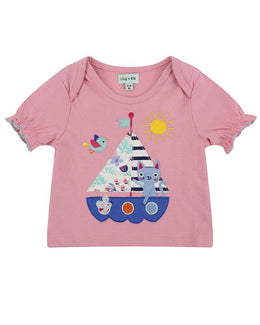 Lilly and Sid Applique Shorts Set - Boats - Small and Awesome
