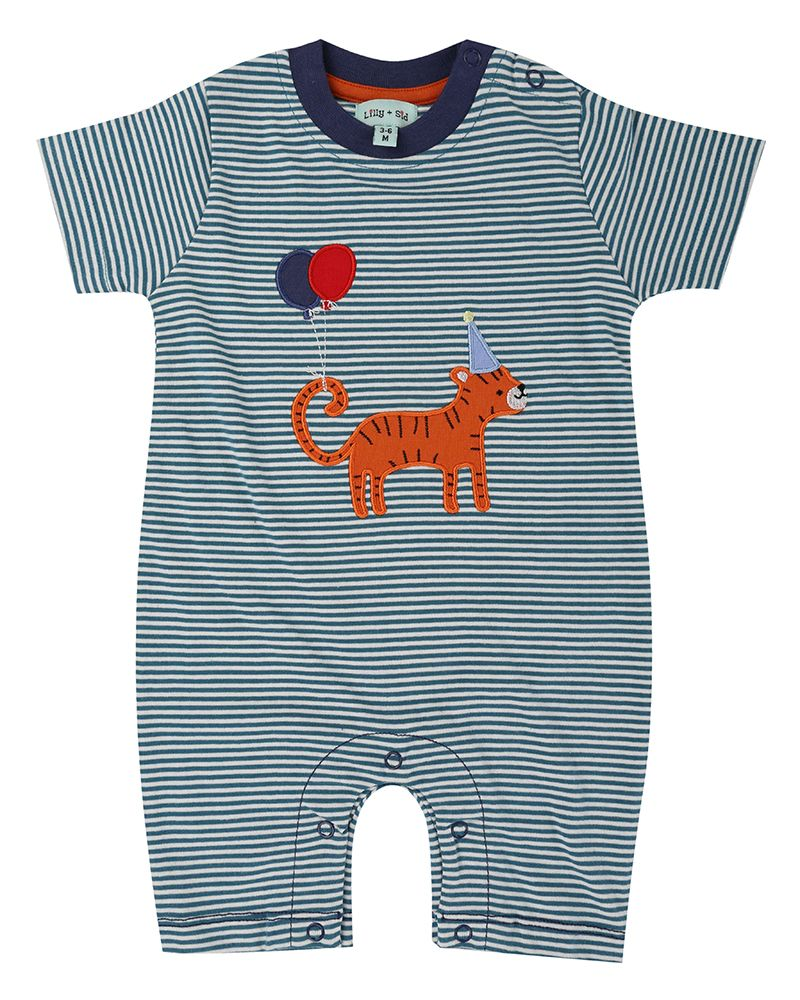 Lilly and Sid Applique Stripe Romper- Tiger - Small and Awesome
