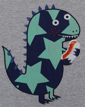 Load image into Gallery viewer, Lilly and Sid Applique T - Star Dino - Small and Awesome