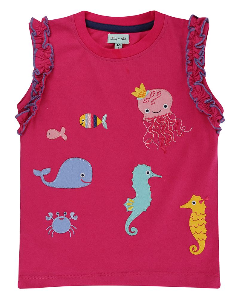 Lilly and Sid Applique Top- Sea Pals - Small and Awesome