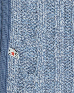 Lilly and Sid Cable Knit Denim Marl Blanket - Small and Awesome