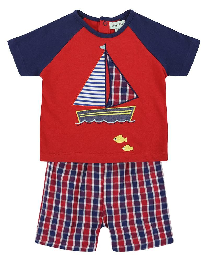 Lilly and Sid Check Ships Short Set - reversible - Small and Awesome