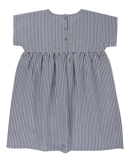 Lilly and Sid Embroidered Bodice Dress- Ticking Stripe - Small and Awesome
