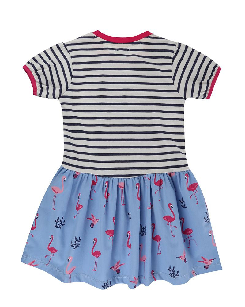 Load image into Gallery viewer, Lilly and Sid Fabric Mix Dress- Flamingo Stripe - Small and Awesome