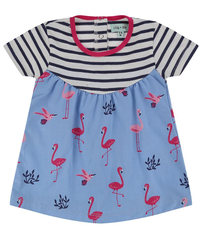 Lilly and Sid Fabrix Mix Dress- Flamingo - Small and Awesome