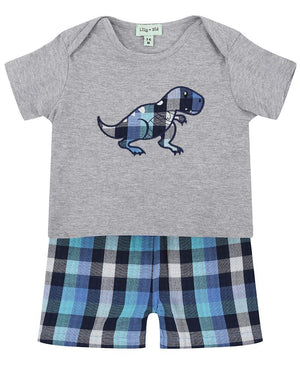 Load image into Gallery viewer, Lilly and Sid Reversible Applique Dino Short Set - Check Woven - Small and Awesome