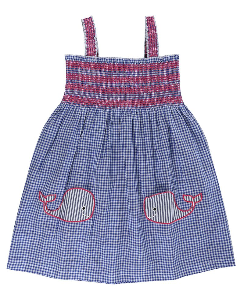 Lilly and Sid Reversible Sundress- Whale Pockets - Small and Awesome