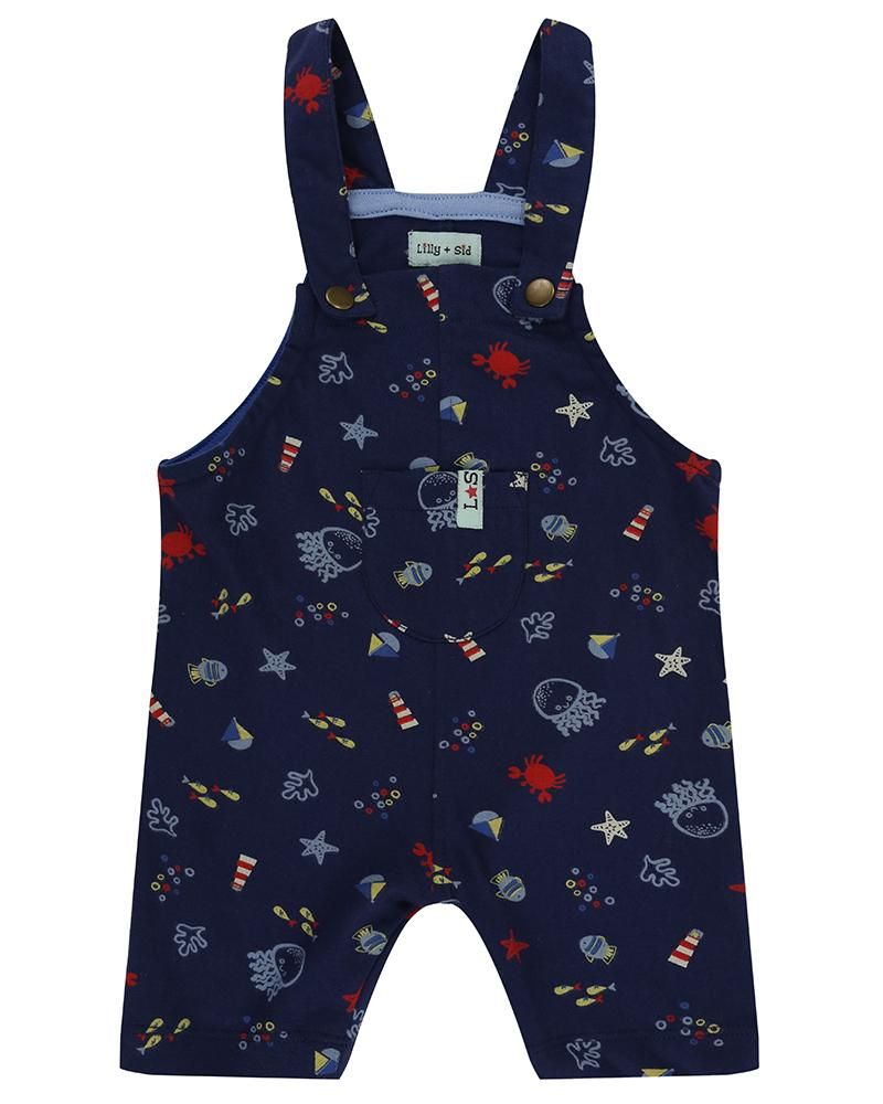Lilly and Sid Short Dungarees - Under the sea - Small and Awesome