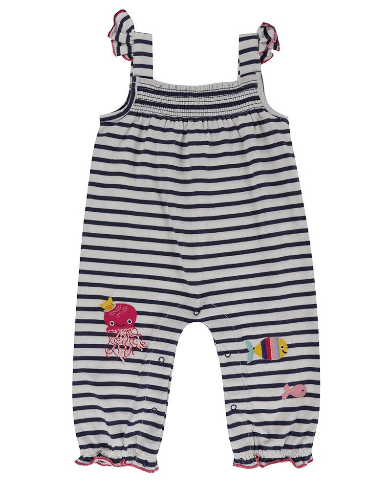Lilly and Sid Stripe Sea Friends Dungarees
