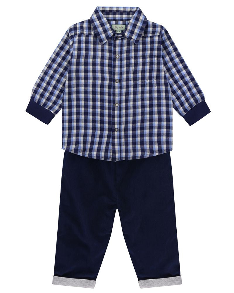 Lilly and Sid Woven Check Shirt/ Cord Reversible Trouser Set - Small and Awesome