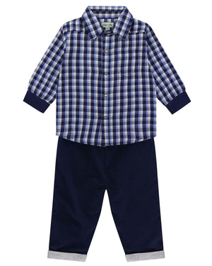 Load image into Gallery viewer, Lilly and Sid Woven Check Shirt/ Cord Reversible Trouser Set - Small and Awesome