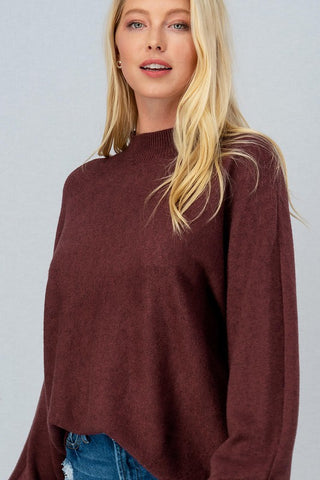 Maggie Mock Sweater in Plum
