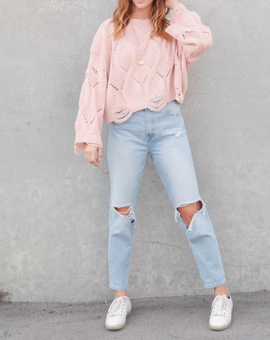 Kyla Blush Distressed Sweater