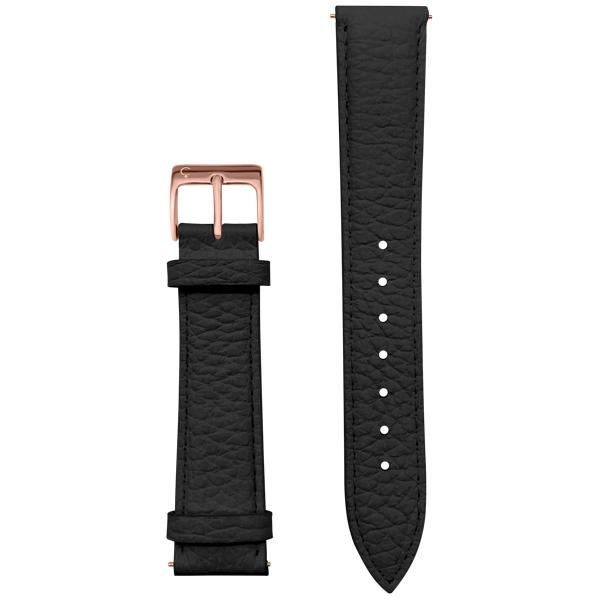 Black Leather watch band rose gold buckle