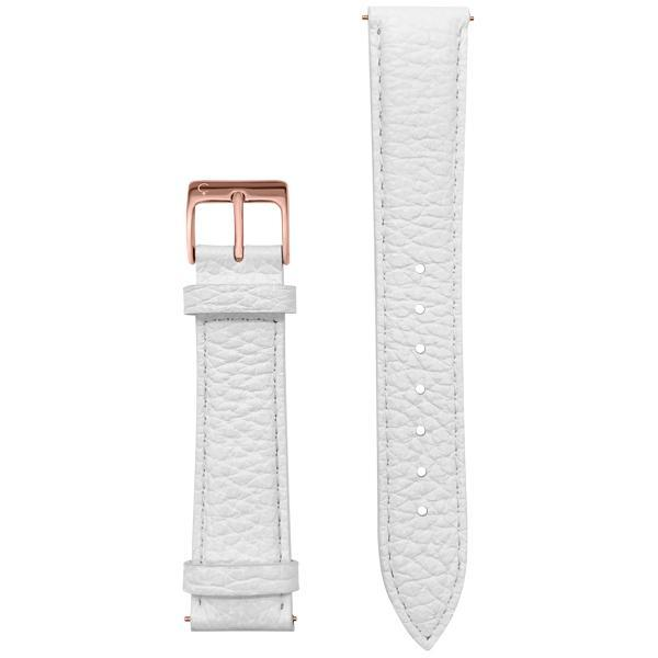 White Leather watch band rose gold buckle
