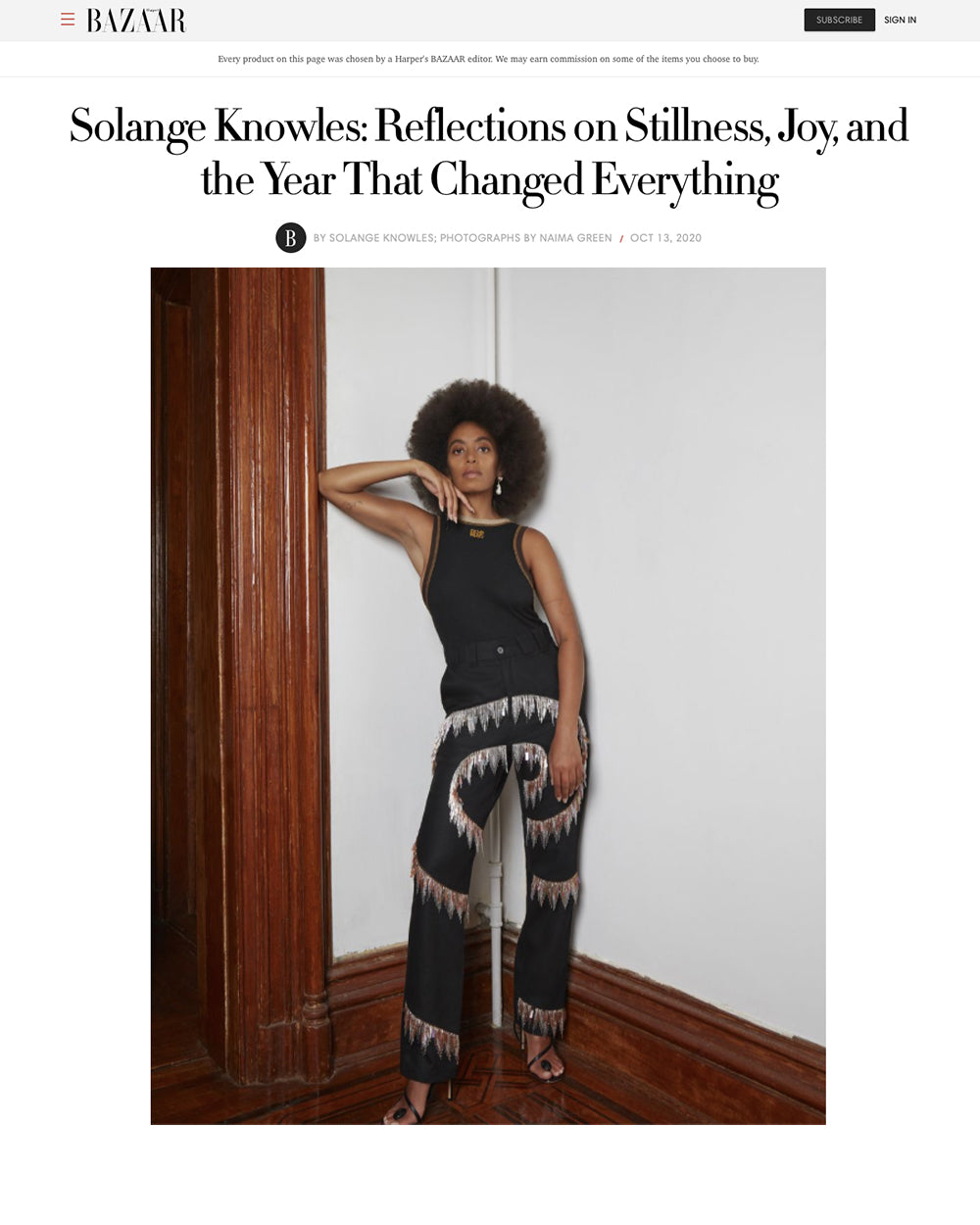 HARPERS BAZAAR - Solange Knowles: Reflections on Stillness, Joy, and the Year That Changed Everything
