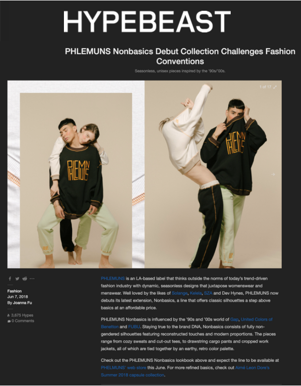 HYPEBEAST - PHLEMUNS Nonbasics Debut Collection Challenges Fashion Conventions