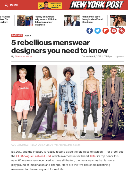 New York Post - 5 rebellious menswear designers you need to know